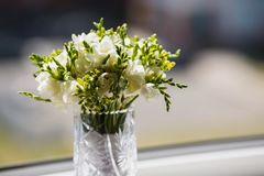 Wedding bouquet of white flowers. On a light background Royalty Free Stock Photo
