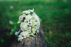Wedding bouquet with white flowers. Wedding details Royalty Free Stock Image