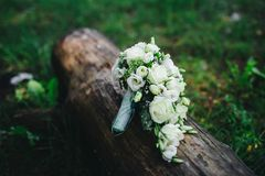 Wedding bouquet with white flowers. Wedding details Stock Image