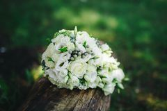 Wedding bouquet with white flowers. Wedding details Royalty Free Stock Images