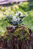 Wedding bouquet of white flowers on the wood stump outdoors.  Stock Photography