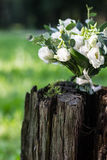 Wedding bouquet of white flowers on the wood stump. Outdoors Stock Photography