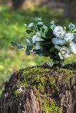 Wedding bouquet of white flowers on the wood stump outdoors.  Royalty Free Stock Images