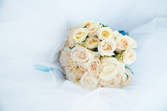 Wedding bouquet with white ivory roses Royalty Free Stock Photography