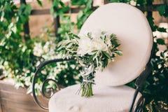 Wedding bouquet white peonies Stock Photo