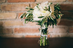 Wedding bouquet white peonies Stock Image
