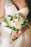 Wedding bouquet white peonies Royalty Free Stock Photography