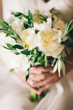 Wedding bouquet white peonies Stock Images