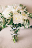Wedding bouquet white peonies Royalty Free Stock Photo