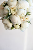 Wedding bouquet of white peonies and ranunculuses. Wedding floristry. Wedding bouquet of white peonies and ranunculuses.Wedding floristry royalty free stock photo