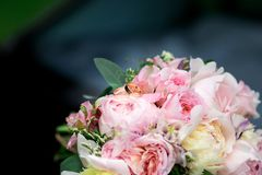 Wedding bouquet with white and pink flowers.  Stock Photos