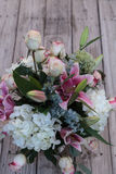 Wedding bouquet of white and pink flowers Stock Photos