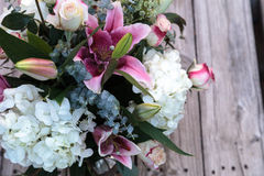 Wedding bouquet of white and pink flowers Stock Images