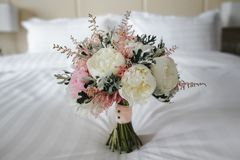 Wedding bouquet with white and pink flowers. Wedding details Royalty Free Stock Images