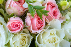 Wedding bouquet of white and pink roses. Drops on flowers. Flora Royalty Free Stock Photography
