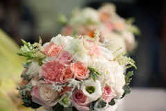 Wedding bouquet of white and pink roses. A wedding bouquet of white and pink roses is reflected in the mirror Royalty Free Stock Image