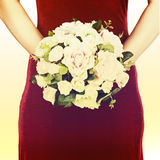 Wedding bouquet from white and pink roses with retro filter effe Stock Photo
