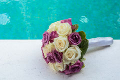 Wedding bouquet. Of White and purple roses Royalty Free Stock Photos