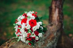 Wedding bouquet with white and red flowers. Wedding details Stock Image