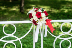 Wedding bouquet with white and red rose Royalty Free Stock Image