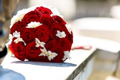 Wedding bouquet of white and red roses stock photos