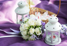 Wedding bouquet with white roses and lanterns Royalty Free Stock Images