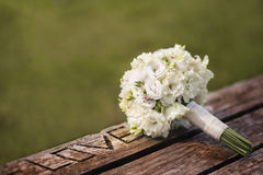 Wedding bouquet with white roses Royalty Free Stock Photo