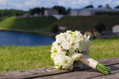 Wedding bouquet with white roses Royalty Free Stock Images