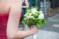 Wedding bouquet of white roses and white flowers Stock Images