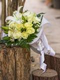 Wedding bouquet. Of White roses & white Lily Stock Photo