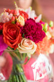 Wedding bouquet on a white table Stock Image