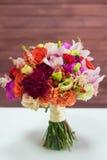 Wedding bouquet on a white table Royalty Free Stock Photos