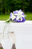 Wedding Bouquet with white and violet flowers. Outdoor Stock Images
