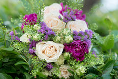 Wedding bouquet with white and violet flowers. Roses, peony Royalty Free Stock Photos
