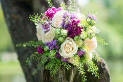 Wedding bouquet with white and violet flowers. Roses, peony Royalty Free Stock Images