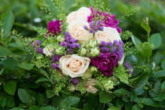 Wedding bouquet with white and violet flowers. Roses, peony Stock Photos