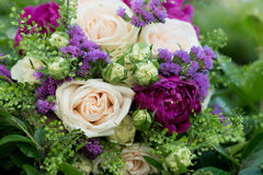 Wedding bouquet with white and violet flowers. Roses, peony Stock Photography