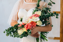 Wedding bouquet in white wedding dress. Wedding bouquet in white wedding Stock Images