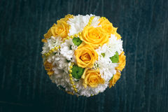 Wedding bouquet with white and yellow flowers. Photo of bouquet of yellow and white flowers in wedding Stock Photos