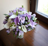 Wedding bouquet on the window. Beautiful bridal bouquet on the window. top view Royalty Free Stock Photography