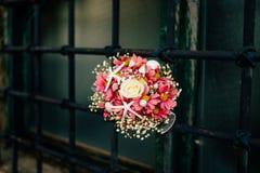 Wedding bouquet on a window Royalty Free Stock Photos