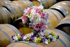 Wedding bouquet in a wine barrel Royalty Free Stock Photography