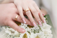 Wedding Bouquet With Hands And Rings Royalty Free Stock Photo