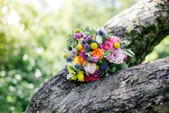 Wedding bouquet on wood. At spring or summer Stock Images