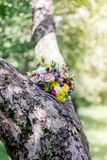 Wedding bouquet on wood. At spring or summer Stock Image