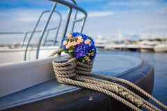 Wedding bouquet on a yacht. stock photography