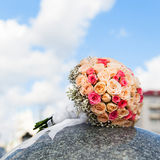 Wedding bouquet of yellow and pink roses Stock Photo