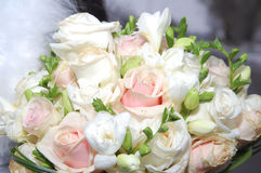 Wedding bouquets. Against the background of the dress Stock Image