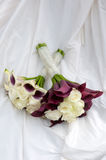 Wedding bouquets purple and white colours Stock Photos