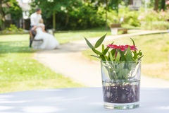 Wedding bouquets of roses at outside ceremony . Royalty Free Stock Photo